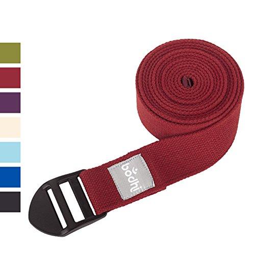 ASANA Belt, Yogagurt mit Plastikschnalle, Yoga Hilfsmittel, 100% Baumwolle, 2,5 m x 38 mm (bordeaux-rot)