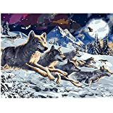 TWYYDP Klassisches Erwachsene Holzpuzzle 1000 Teile Wölfe Rennen Im Schnee Wohnkultur Gemälde, Plakate