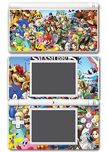 Super Smash Bros Melee Brawl Mario Pikachu Yoshi Mega Man Zelda Sonic Metroid Video Game Vinyl Decal Skin Sticker Cover for Nintendo DS Lite System by Vinyl Skin Designs - Ds Sonic Und Mario