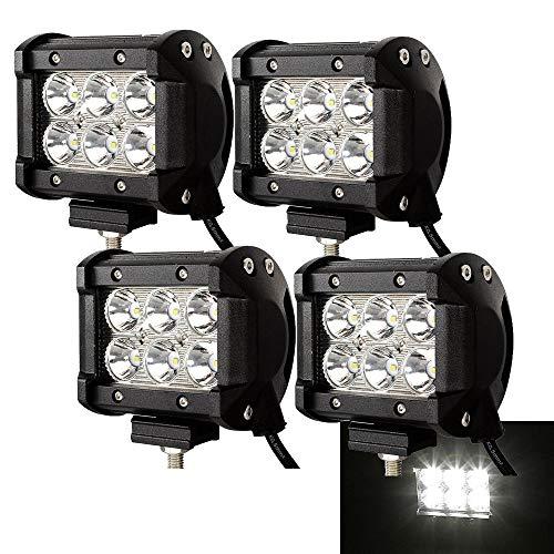 4X 18W Quadrat LED Arbeitsscheinwerfer 10V~30V Reflektor Scheinwerfer Arbeitslicht Offroad Flutlicht Zusatzscheinwerfer SUV, UTV, ATV Rückfahrscheinwerfer