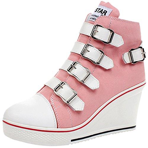 Oasap Femme Chaussure En Canevas Couleur Bloc Talons Compensé pink