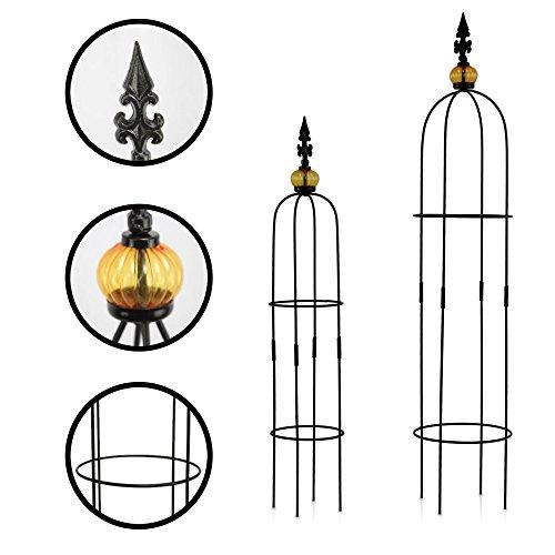Galleria fotografica 1PLUS Traliccio obelisco in metallo, 2pezzi, altezza: 80,5e 100cm, in diversi colori e design–Protezione rose da giardino