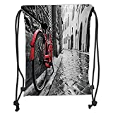 ZKHTO Drawstring Sack Backpacks Bags,Bicycle,Classic Bike on Cobblestone Street in Italian Town Leisure Artistic Photo,Red Black and White Soft Satin,5 Liter Capacity,Adjustable String Closur