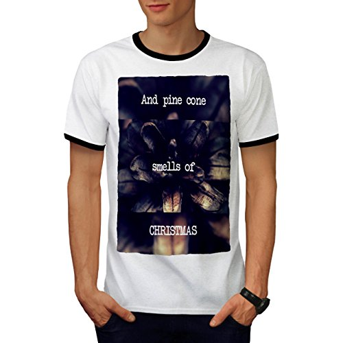 Kiefer Kegel Baum Weihnachten Ferien Herren S Ringer T-shirt   Wellcoda (Schnee Kegel Kostüm Ideen)