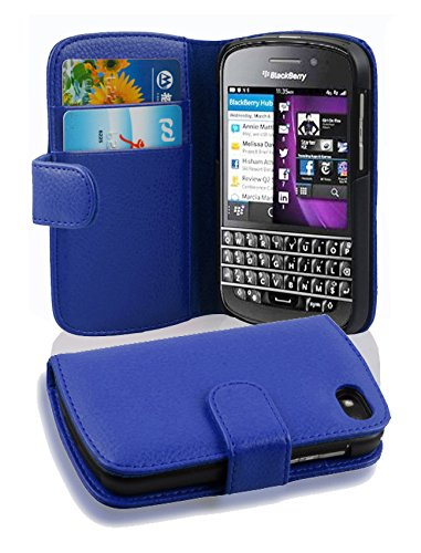 Cadorabo Hülle für BlackBerry Q10 - Hülle in KÖNIGS BLAU – Handyhülle mit Kartenfach aus struktriertem Kunstleder - Case Cover Schutzhülle Etui Tasche Book Klapp Style