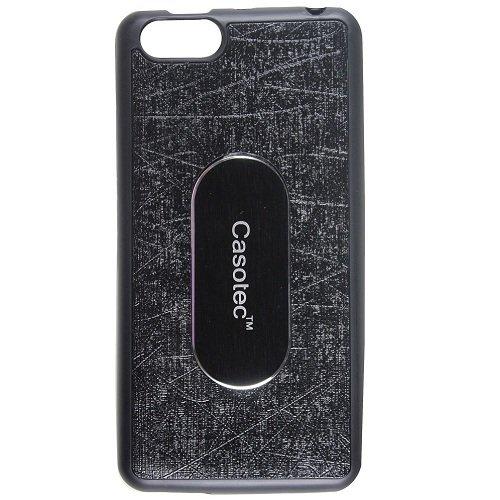Casotec Metal Back TPU Back Case Cover for Panasonic P55 NOVO - Black