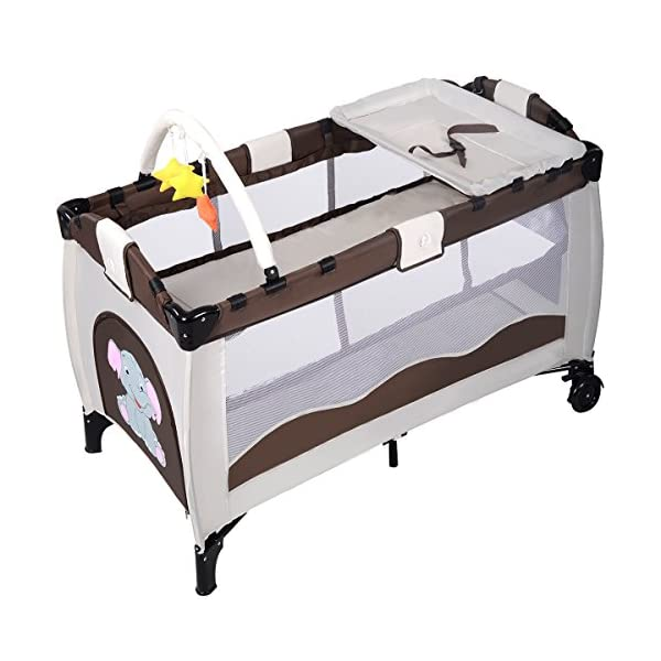 Costway Portable Infant Baby Travel Cot Bed Play Pen Child Bassinet Playpen Entryway W Mat 2 in 1 (Coffee) Costway 【Excluded locations】Guernsey, JERSEY, Channel Islands, Isle of Man, Scilly Isles, Scottish Islands, PO BOX 【Folded Design】Due to its folding design, you can take it to anywhere as you like by packing it in the supplied carry bag, and it just takes you a while to fold or unfold it before using. 【See-through safety mesh】It features mesh cloth on both sides, this netted areas allow your baby to see out clearly as well as an onlooker to see in to her/him, and it also offers great ventilation for your baby. 2