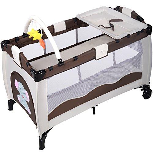 COSTWAY Babybett Reisebett Babyreisebett Kinderreisebett Kinderbett Inkl. Matratze+Zubehör (Braun)