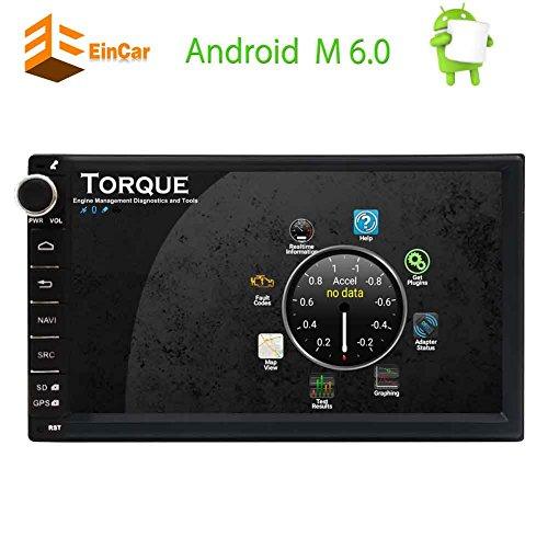 EinCar Android 6.0 7 '' Auto-Stereo mit kapazitivem Touch Screen Doppel-DIN-Steuergerät GPS-Navigations-Autoradio-Multimedia-System Unterstützung Bluetooth/WiFi / OBD2 / Spiegel-Link / 1080p-Video