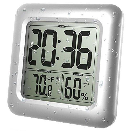 BALDR LCD Bad & Dusche Uhr, Wasserdicht Badezimmeruhr, An der Wand montiert, Saugnäpfe, Digitalanzeigen Zeit, Temperatur und innere relative - Lcd Uhr Dusche