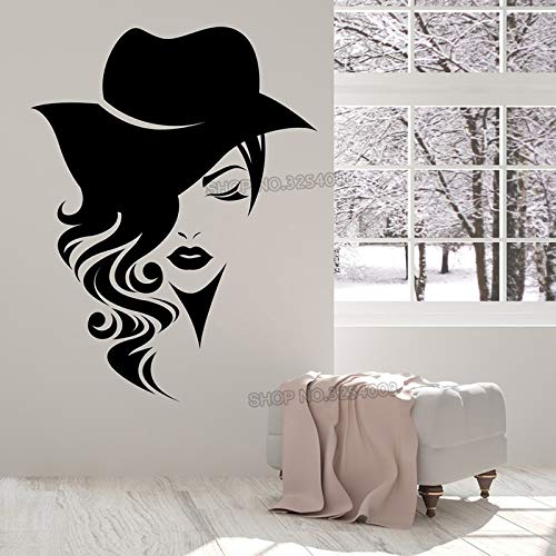 Große Vinyl Applique Wandaufkleber Logo weibliches Gesicht mit langen Haaren und Hut Dekoration Modegeschäft oder Schönheitssalon Studio 56 * 73 cm