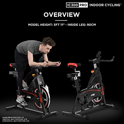 51ISUUJvoKL. SS500  - JLL IC300 PRO Indoor Cycling Exercise Bike, Direct Belt Driven 20kg Flywheel, Magnetic Resistance, 3-Piece Crank, 7-Function Monitor, Heart Rate Sensors, Adjustable Seat, 12 Months Home Warranty