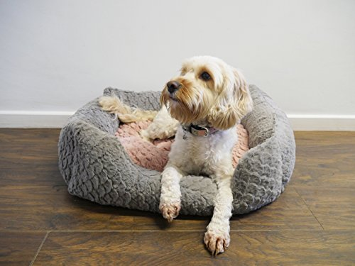 Rosewood luxury medium square dog bed, soft and comfortable swirl fur with reversible cushion inside - machine washable, 61cm width x 46cm depth -grey and pink Best Price and Cheapest