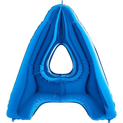 hstaben - XXL Riesenbuchstabe 100cm Folienballon - Helium Luftballons für Geburtstag, Taufe, Party Deko, Hochzeit in verschiedenen Farben (A, Blau) ()