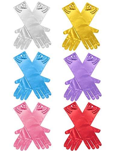 Zhanmai 6 Paare Mädchen Satin Handschuhe Princess Dress Up Bows Handschuhe Lange Formale Handschuhe für Party, Alter 3 bis 8 Jahre (Farbe 1)