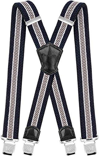 Decalen Hosenträger für Herren Breit 4 cm mit sehr Starken 4 Metall Clip Lang Einheitsgröße für Männer und Damen Einstellbar und Elastisch X Style (Marineblau Weiß Silber) Polyester-jungen-clip
