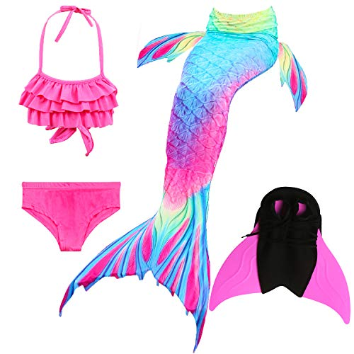 Das beste Mädchen Bikini Badeanzüge Schönere Meerjungfrauenschwanz Zum Schwimmen mit Meerjungfrau Flosse Schwimmen Kostüm Schwanzflosse - Ein Mädchentraum- Gr. 130, Farbe: Welle - Rose rot