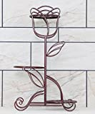 Shelf in Living Room Bedroom Kitchen Flower Pot Shelf Iron Multi- Storey Plant Stand Living Room Balcony Indoor Floor Flower Rack Decoration Rack YYJRR-Corner Shelves ( Color : Brass , Size : Height69cm )