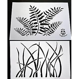 Acid Tactical® 2 Pack - 23cm x 35cm Camouflage Airbrush Spray Paint Stencils - Boat auto Gun (Grass, Fern Camo)