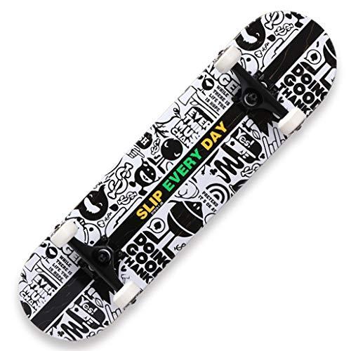 GuanMun Skateboard-Anfänger-Roller-männliche und weibliche Erwachsene Kinderbürstenstraßen-Reise-doppelte Wippe, Berufskateboard vierrädiges Klasse-Skateboard (Farbe : C)
