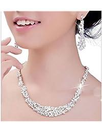 Mujers Collar Pendientes,Xinan Sistemas de la Joyería Cristal de Novia Joyerías Boda