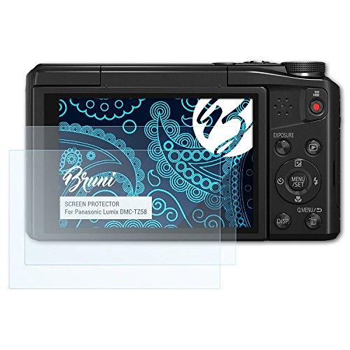 Bruni Schutzfolie für Panasonic Lumix DMC-TZ58 Folie - 2 x glasklare Displayschutzfolie