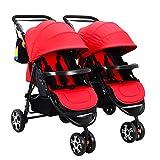 Kinderwagen Kombikinderwagen Zwillinge Abnehmbar Falten Flach Sitzen Babywagen05,red