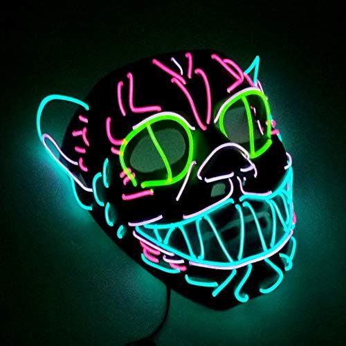 ZGSX Leuchtende Maske EL Draht Maske Leuchtende Katze Maske Blinkende Cosplay LED Maske Kostüm Anonyme Maske Für Leuchtende Tanz Karneval Party Masken Halloween Dekoration (El Draht Tanz Kostüm)