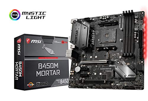 Mortier MSI B450M - Plaque base (AM4, AMD B450, 1 x PCI-E 3.0 Fente x16 + 1 x PCE-E 2.0 x16, DDR4 up 3466 MHz, HMDI, 4 x SATA 6 Gb / s)