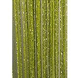 Glänzende Fadenvorhang mit Quaste, zum Aufhängen, Dekoration, Raumteiler, silberfarbene Linien, Seide, Fenster, Heimdekoration, grün