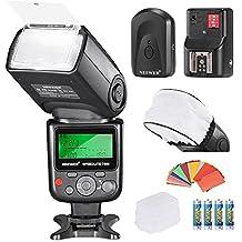 Neewer® PRO i-TTL Flash *lujoso Kit* para NIKON DSLR D7100 D7000 D5300 D5200 D5100 D5000 D3200 D3100 D3300 D90 D800 D700 D300 D300S D610, D600, D4 D3S D3X D3 D200 N90S F5 F6 F100 F90 F90X D4S D SLR cámara, Incluye: (1)Neewer 750II iTTL Flash para Nikon+(1) universal Mini flash de rebote Difusor Cap + (1) 35 piezas Filtros de gel de color +(1) difusor de flash + (1) 16 Canales remoto inalámbrico disparador de flash + (4) batería LR