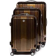 FERGÉ Dreier Kofferset mit TSA Zahlenschloss CANNES - Trolley-Koffer ABS&PC - 3 Trolley-Hartschalenkoffer mit 4 Zwillingsrollen