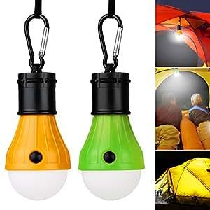 Vitutech Lampada LED da campeggio, 2 pezzi Tenda LED Light lanterna della lampada portatile per la casa, campeggio, escursioni e altre attività indoor e outdoor (Blu e arancione)