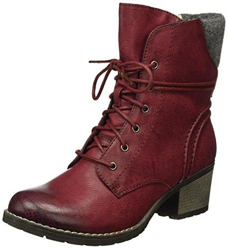 Rieker Damen 92544 Kurzschaft Stiefel, Rot (Wine/Granit / 35), 41 EU