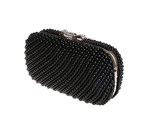 GSHGA Womens Frizione Borse Pearl Bag Borsa Da Sera Di Nozze Della Sposa Il Sacchetto Del Pranzo Sacchetto Trasversale Obliquo,Champagne Black