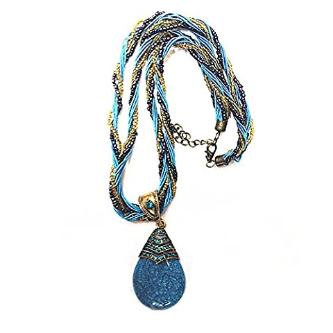 Z-P Multicoloured Necklace Crystal Pendant Pearl Chain Twisted Collar Chunky Choker For Women
