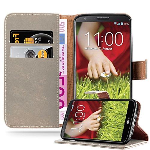 G2 Gummi Lg Case (LG G2 Hülle in CAPPUCINO BRAUN von Cadorabo - Handyhülle Luxury Design mit Magnetverschluss Standfunktion und Kartenfach für LG G2 Case Cover Schutzhülle Etui Tasche Book Klapp Style)