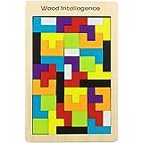 SeeKool Puzzle Tetris Tangram en Bois, 40 Pcs Colorées Tetris Puzzle Cerveau Teaser géométriques Jouets, Jeu Éducatif De Construction Et d'Imagination Cadeau pour Bébé Enfant à partir de 3 Ans