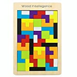 SeeKool Wooden Tetris Puzzle, Tangram Jigsaw Puzzle Wooden Educational Game Brain Teaser Toy, Colorful Wooden Geometry Building Block Intelligence Gift for Children (40 Pcs)