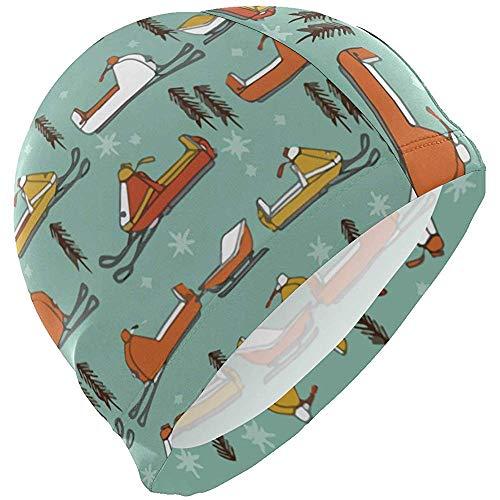 Schneemobile Vintage Senf Orange Lycra Badekappe Schwimmen für Frauen Männer