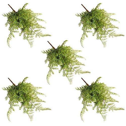 Kicode fish tail pino foglia di felce fiori artificiale falso fiori di seta fiori bouquet reale di tocco del fiore 5 pack