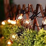 Prevently Vintage Birnen Lichterkette Außen G4025 LED Lichterkette Glühbirne aus Glas Retro Design 25Ft G40 Wasserdicht für Garten Terrasse Xmas Partei Hochzeits Dekorationen (Schwarz)