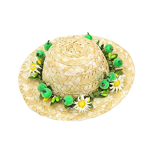 OTENGD Sombrero Top Hat Pet Straw Hats Headband Fiesta Party Supplies Dog Spring Summer Sunhat Cute Handcrafted Woven Straw for Pets Dog Cat Party Decoration Woven Top Hat
