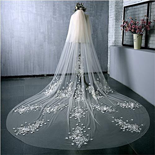 Elegante Hochzeit Schleier 2 Tier Brautschleier Kathedrale Länge weiße 3D Blume Applique Edge Fingertip Kapelle Soft Simple Tulle