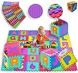 KIDIZ® 4x Spielmatte 86 tlg. Spielteppich Puzzlematte Kinderteppich Matte Schutzmatte Kinderspielteppich Schaumstoffmatte ABC bunt Lernteppich Puzzleteppich Puzzle Zahlen und Buchstaben Menge: 4er Pack