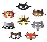 Petitebelle Masken mit Tiermotiv, für Kinder ab 2Jahren, zum Verkleiden, für die Augenpartie, 8Stück Gr. One size, mehrfarbig
