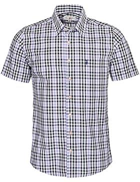 Almsach Kurzarm Trachtenhemd Ewald Slim Fit mehrfarbig in Hellblau, Dunkelgrün und Dunkelblau inklusive Volksfestfinder