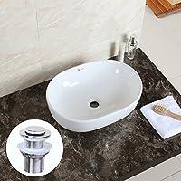 xran Design moderno bagno Countertop ciotola ovale Top Lavabo in ceramica, Pop Up Rifiuti incluso