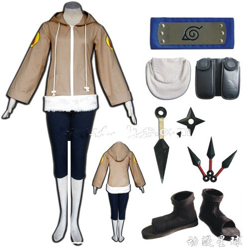 Vivian NARUTO Anime Hinata Hyuga 2. Cosplay Kostüm+Waffen Anzug + Schuhe, Größe S:(150-160 (Hinata Hyuga Kostüm)