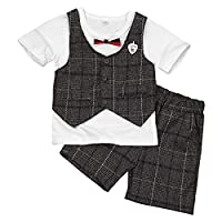 YiZYiF 2 PCS Toddlers Boys Summer Plaid Bow Tie Outfits Short Sleeve T-shirt with Shorts Pants Set White&Coffee 12-18 Months